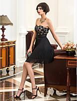 economico -Linea-A Senza bretelline Corto / mini Chiffon / Di pizzo Vestito con Con applique / A pieghe di TS Couture®