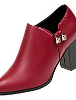 Недорогие -Жен. Ботильоны Полиуретан Осень Ботинки На толстом каблуке Заостренный носок Черный / Винный