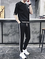 cheap -Men's Pocket / Drawstring 2pcs Running Shirt With Pants - White, Black Sports Letter Tracksuit Fitness, Gym, Workout Half Sleeve Activewear Breathable, Sweat-wicking, Comfortable Stretchy Slim