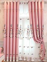 abordables -Rideaux opaques Chambre à coucher Couleur Pleine Coton / Polyester Broderie