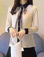 Недорогие -Жен. На выход Блуза Квадратный вырез Контрастных цветов