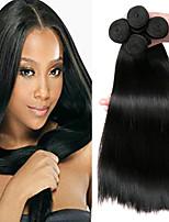 billiga -4 paket Indiskt hår / Afrikanska flätor Rak Obehandlat / Äkta hår Presenter / cosplay Suits / Human Hår vävar 8-28 tum Naurlig färg Hårförlängning av äkta hår Mjuk / Heta Försäljning / 100% Jungfru