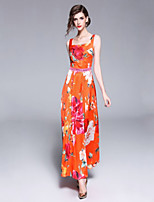 abordables -Mujer Básico Corte Swing Vestido - Estampado, Geométrico Maxi