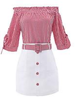 cheap -Women's Shirt - Color Block Skirt