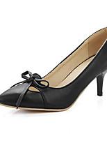 Недорогие -Жен. Комфортная обувь Полиуретан Осень Обувь на каблуках На толстом каблуке Черный / Красный / Миндальный