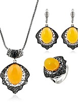 cheap -Women's Topaz Classic / Stylish Jewelry Set - Silver Plated Creative Stylish, Classic, Vintage Include Hoop Earrings / Necklace / Ring Yellow For Wedding / Daily