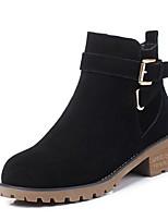 baratos -Mulheres Sapatos Camurça Inverno Conforto Botas Salto Robusto Dedo Fechado Botas Curtas / Ankle Preto