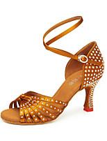 economico -Per donna Scarpe per balli latini Raso Sandali Lustrini / Brillantini / Dettagli con cristalli Tacco cubano Personalizzabile Scarpe da ballo Oro / Nero / Mandorla
