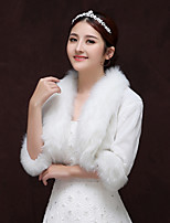 cheap -3/4 Length Sleeve Faux Fur / Knit Wedding / Birthday Women's Wrap With Split Shrugs