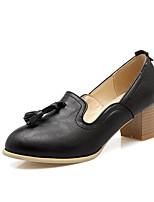 Недорогие -Жен. Балетки Полиуретан Лето Обувь на каблуках На толстом каблуке Черный / Серый / Миндальный