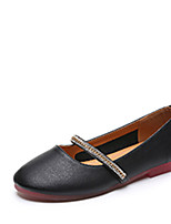 Недорогие -Жен. Обувь Полиуретан Лето Удобная обувь На плокой подошве На плоской подошве Круглый носок Черный / Бежевый / Миндальный