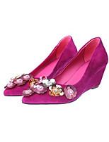abordables -Femme Chaussures Daim Printemps Escarpin Basique Chaussures à Talons Hauteur de semelle compensée Noir / Rose