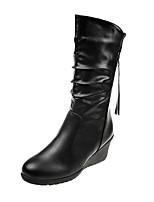 Недорогие -Жен. Fashion Boots Искусственный мех Наступила зима Английский Ботинки Туфли на танкетке Круглый носок Сапоги до середины икры Черный