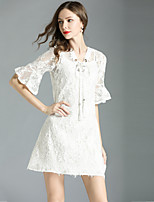 cheap -Women's Sophisticated / Elegant A Line Dress - Solid Colored Lace
