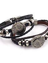 cheap -Men's Stylish / Braided Vintage Bracelet / Loom Bracelet - Poker Stylish, Punk, European Bracelet Black / Brown For Gift / Daily