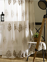 cheap -Sheer Curtains Shades Bedroom Floral Polyester Embroidery