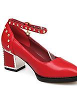 Недорогие -Жен. Комфортная обувь Полиуретан Осень Обувь на каблуках На толстом каблуке Белый / Черный / Красный