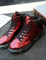 cheap -Men's Patent Leather Spring / Fall Motorcycle Boots Sneakers Black / Silver / Red