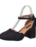 Недорогие -Жен. Комфортная обувь Замша Весна & осень Обувь на каблуках На толстом каблуке Черный / Розовый / Верблюжий