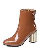 Недорогие -Жен. Комфортная обувь Наппа Leather Наступила зима Ботинки На толстом каблуке Черный / Коричневый