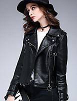Недорогие -Жен. Офис Кожаные куртки Однотонный