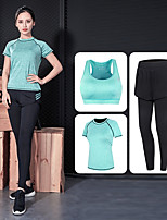 cheap -Women's Sexy Yoga Suit - Gray, Green, Pink Sports Solid Color High Rise Yoga, Fitness, Gym Short Sleeve Activewear Stretchy