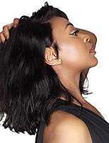 Недорогие -Remy Полностью ленточные / Лента спереди Парик Бразильские волосы Волнистый Парик Средняя часть 130% Средний размер / Природные волосы Черный Жен. Короткие