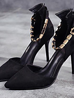 Недорогие -Жен. Комфортная обувь Замша / Полиуретан Весна лето Обувь на каблуках На шпильке Черный / Красный
