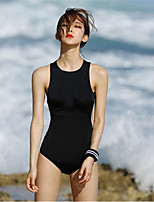 cheap -Women's One Piece Swimsuit Breathable, Comfortable Elastane / Terylene Sleeveless Swimwear Beach Wear Swimwear Solid Colored Swimming / Stretchy