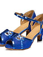 cheap -Women's Latin Shoes Synthetics Heel Slim High Heel Dance Shoes Gold / Coffee / Blue