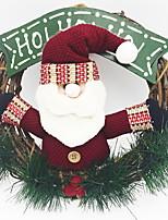 baratos -Guirlandas / Enfeites de Natal Férias De madeira Redonda de madeira Decoração de Natal