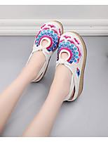 Недорогие -Жен. Комфортная обувь Полотно Лето На плокой подошве На плоской подошве Белый / Синий / Розовый