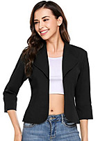 cheap -Women's Street chic Blazer-Solid Colored