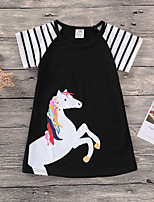cheap -Kids / Toddler Girls' Black & White Color Block / Patchwork Short Sleeve Dress