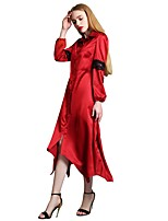 cheap -Women's Street chic / Sophisticated Sheath / Shirt Dress - Solid Colored Lace