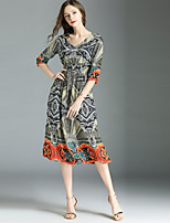 cheap -Women's Street chic A Line Dress - Abstract Print