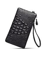 cheap -Men's Bags Nappa Leather Clutch Zipper / Solid Black