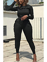 cheap -Women's Basic / Street chic Hoodie / Set - Solid Colored, Lace up Pant