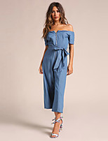 cheap -women's going out slim jumpsuit - solid colored high waist wide leg boat neck