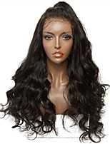 cheap -Virgin Human Hair Lace Front Wig Brazilian Hair Wavy Wig Layered Haircut 150% Natural Hairline / For Black Women Black Women's Long Human Hair Lace Wig