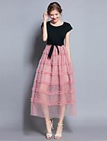 Недорогие -Жен. Богемный / Уличный стиль С летящей юбкой Платье - Контрастных цветов, Сетка Макси