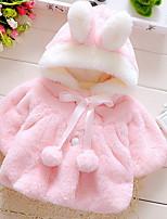 Недорогие -Дети (1-4 лет) Девочки Однотонный Длинный рукав Куртка / пальто