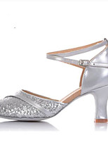 preiswerte -Damen Schuhe für den lateinamerikanischen Tanz Kunststoff Absätze / Sneaker Kubanischer Absatz Tanzschuhe Gold / Silber