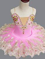 abordables -Ballet Vestidos Chica Rendimiento Licra Fruncido / Cristales / Rhinestones Sin Mangas Tutús