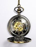 preiswerte -Herrn Taschenuhr Automatikaufzug Transparentes Ziffernblatt Armbanduhren für den Alltag Totenkopf Legierung Band Analog Totenkopf Modisch Gold - Gold