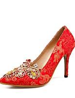 economico -Per donna Raso Primavera estate Comoda scarpe da sposa A stiletto Rosso