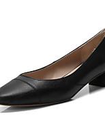 Недорогие -Жен. Комфортная обувь Наппа Leather Весна Обувь на каблуках На низком каблуке Черный / Серый / Синий