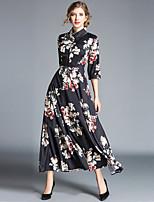economico -Per donna Moda città / Elegante Swing Vestito - Con stampe, Fantasia floreale Maxi