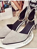 Недорогие -Жен. Комфортная обувь Замша Весна Обувь на каблуках На толстом каблуке Черный / Серый