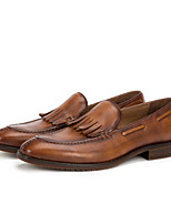 cheap -Men's Moccasin Cowhide Spring / Summer British Loafers & Slip-Ons Coffee / Brown